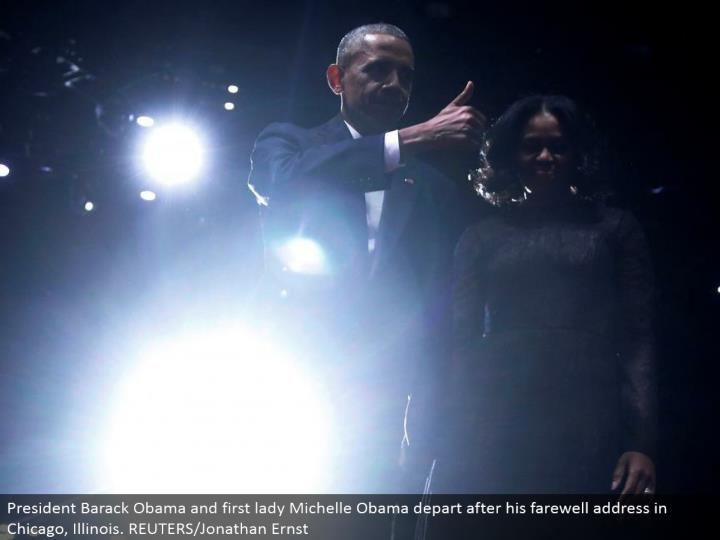 President Barack Obama and first woman Michelle Obama leave after his goodbye address in Chicago, Illinois. REUTERS/Jonathan Ernst