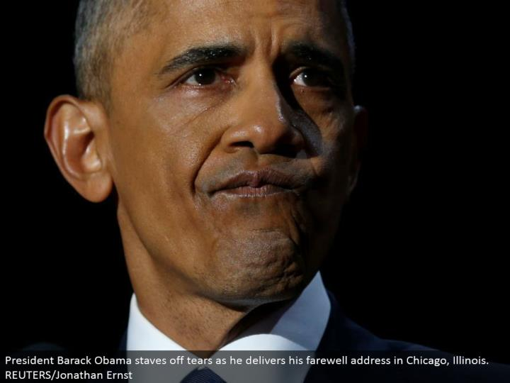 President Barack Obama fights off tears as he conveys his goodbye address in Chicago, Illinois. REUTERS/Jonathan Ernst