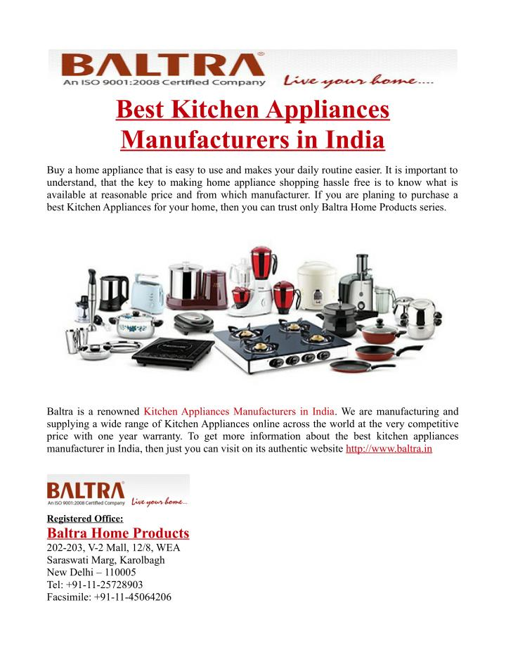 Ppt Best Kitchen Appliances Manufacturers In India