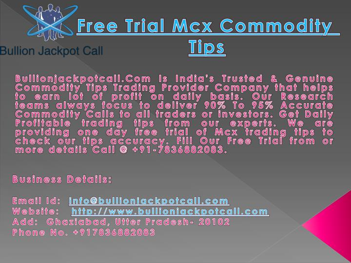 free trial mcx commodity tips n.