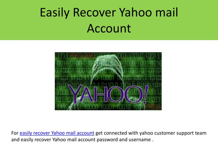 easily recover yahoo mail account n.