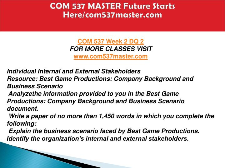 best game productions company background and business scenario