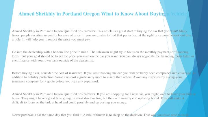 ahmed sheikhly in portland oregon what to know about buying a vehicle n.