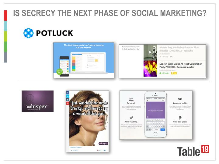 IS SECRECY THE NEXT PHASE OF SOCIAL MARKETING?
