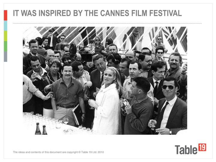 IT WAS INSPIRED BY THE CANNES FILM FESTIVAL