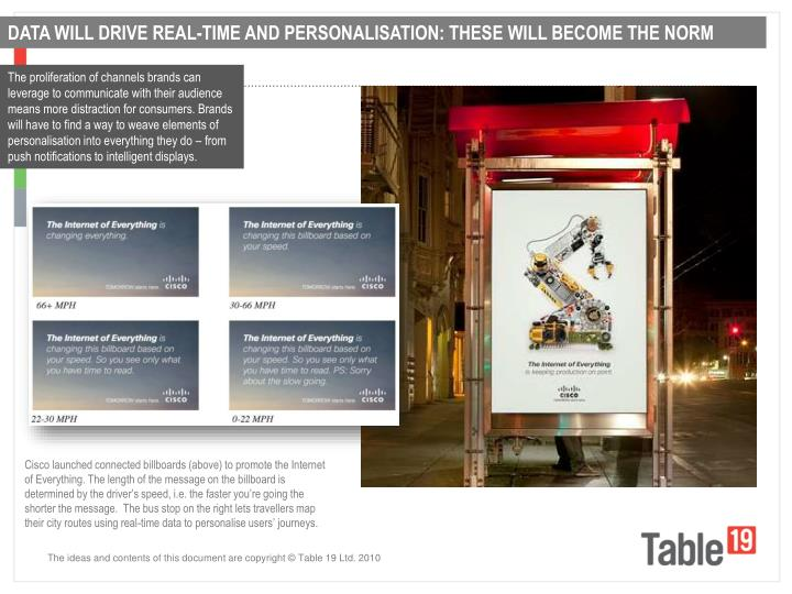 DATA WILL DRIVE REAL-TIME AND PERSONALISATION: THESE WILL BECOME THE NORM