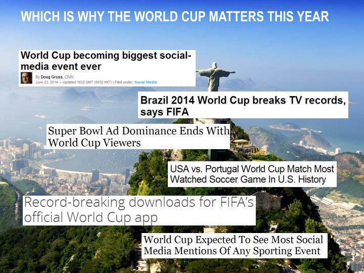 WHICH IS WHY THE WORLD CUP MATTERS THIS YEAR