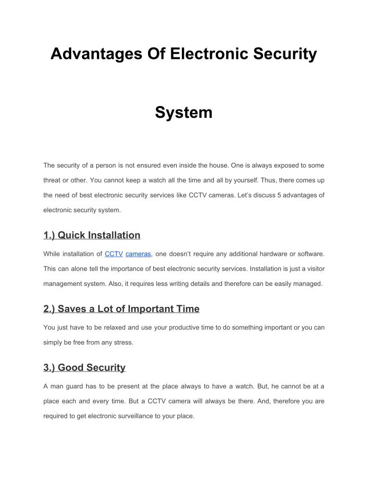 PPT - Advantages Of Electronic Security System PowerPoint