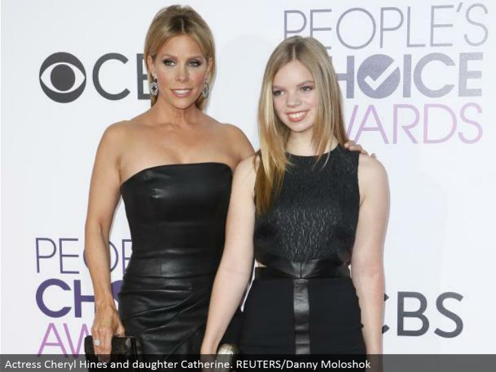 Actress Cheryl Hines and girl Catherine. REUTERS/Danny Moloshok