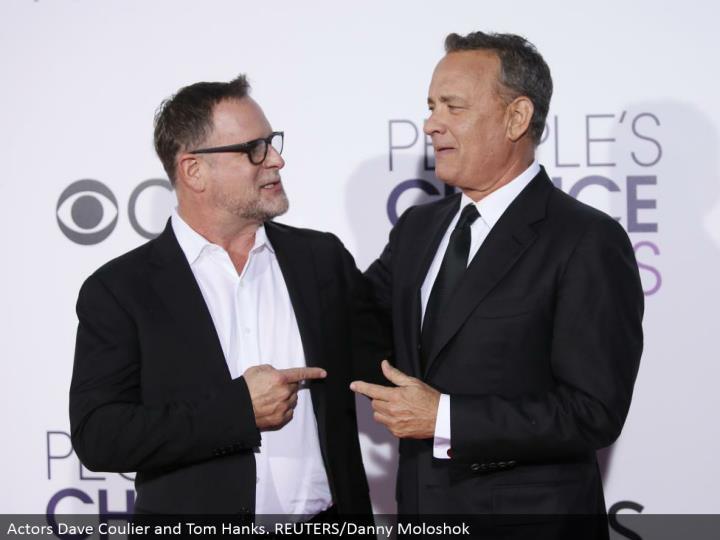 Actors Dave Coulier and Tom Hanks. REUTERS/Danny Moloshok