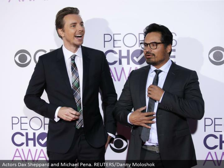 Actors Dax Sheppard and Michael Pena. REUTERS/Danny Moloshok
