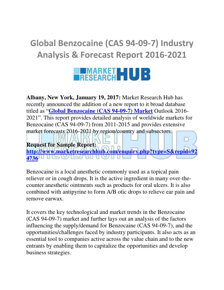 Global Benzocaine Cas 94 09 7 Industry Ysis Forecast Report 2016 2021 Point Ppt Presentation