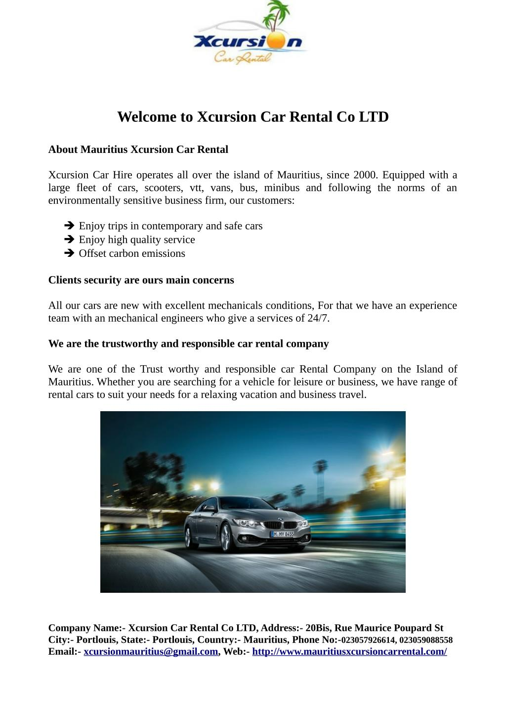 Ppt Welcome To Xcursion Car Rental Co Ltd Powerpoint Presentation