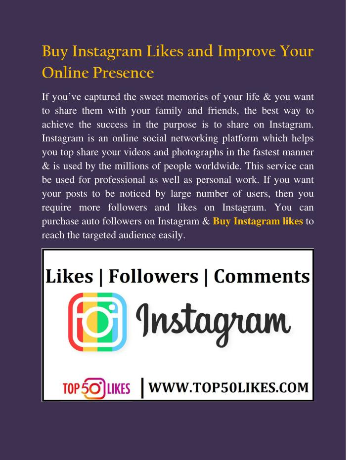 PPT - Buy Instagram Likes and Improve Your Online Presence