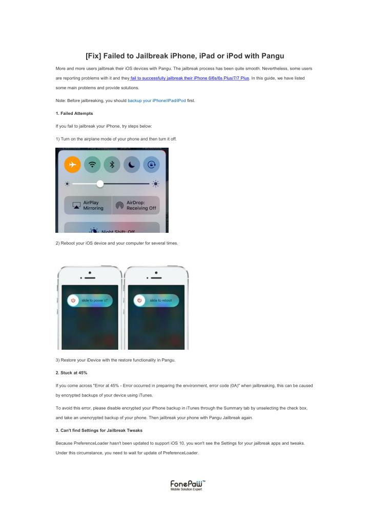 PPT - [Fix] Failed to Jailbreak iPhone, iPad or iPod with
