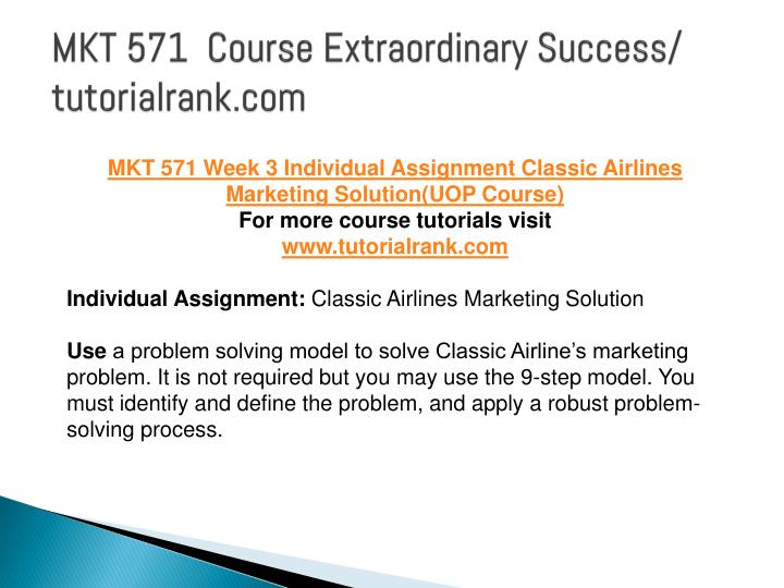 individual assignment classic airlines marketing solution