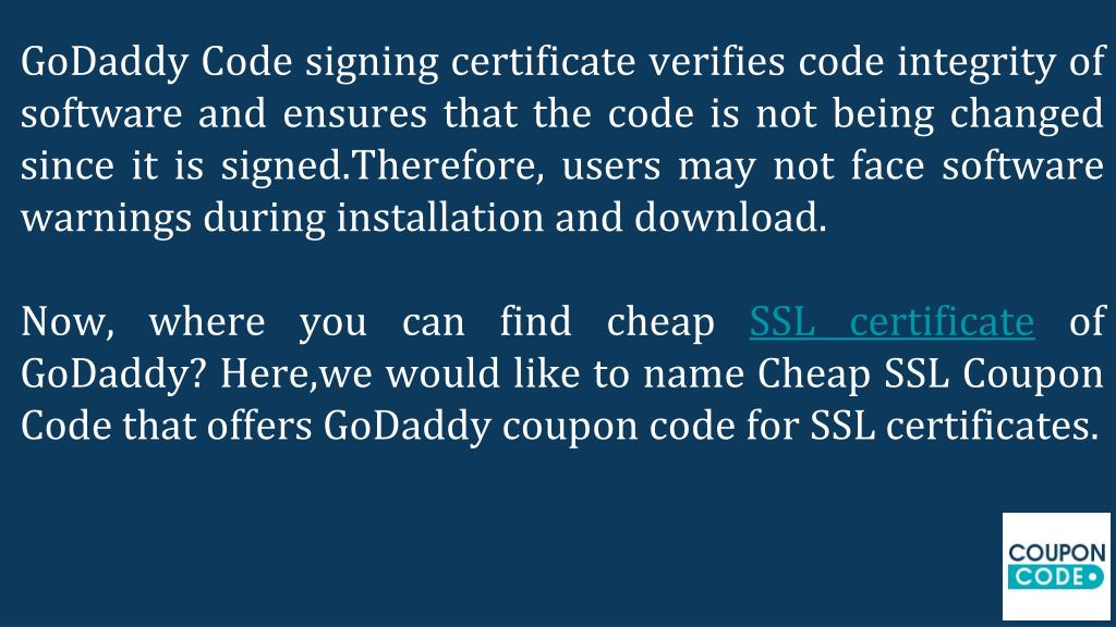 PPT - GoDaddy Coupon Code For SSL Certificates PowerPoint