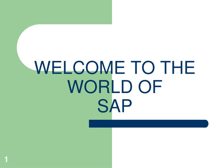 welcome to the world of sap n.