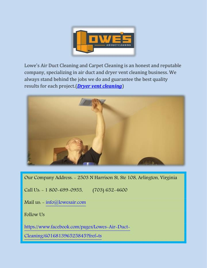 Ppt Lowe S Dryer Vent Cleaning Services Point