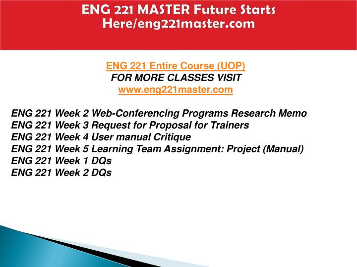 eng 221 week 4 user manual Eng 221 week 4 individual assignment manual eng 221 week 4 individual assignment manual  more products from topclasswork omm618-week 2-discussion 2 $8 buy now major problem in the company pharmaceuticals industry is facing challenge $8 buy now  this website uses cookies so that we can provide you with the best user experience by.