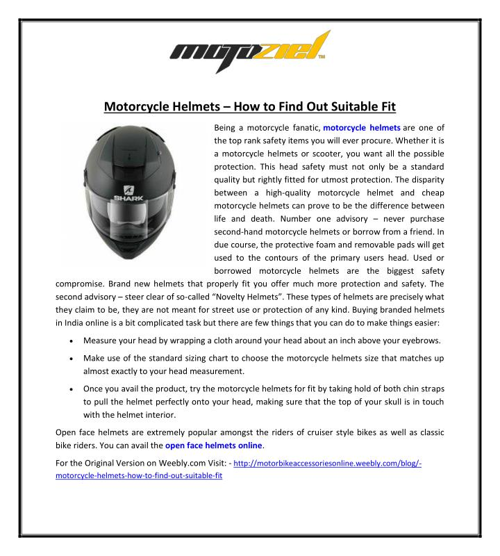 motorcycle helmets how to find out suitable fit n.
