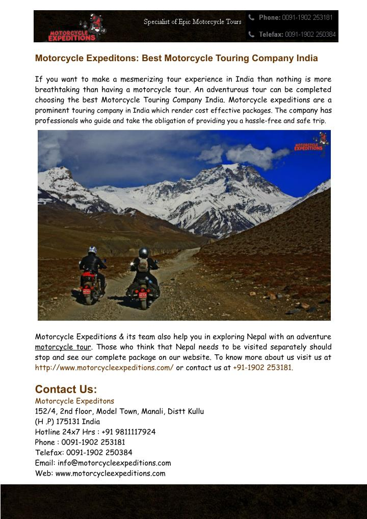 motorcycle expeditons best motorcycle touring n.