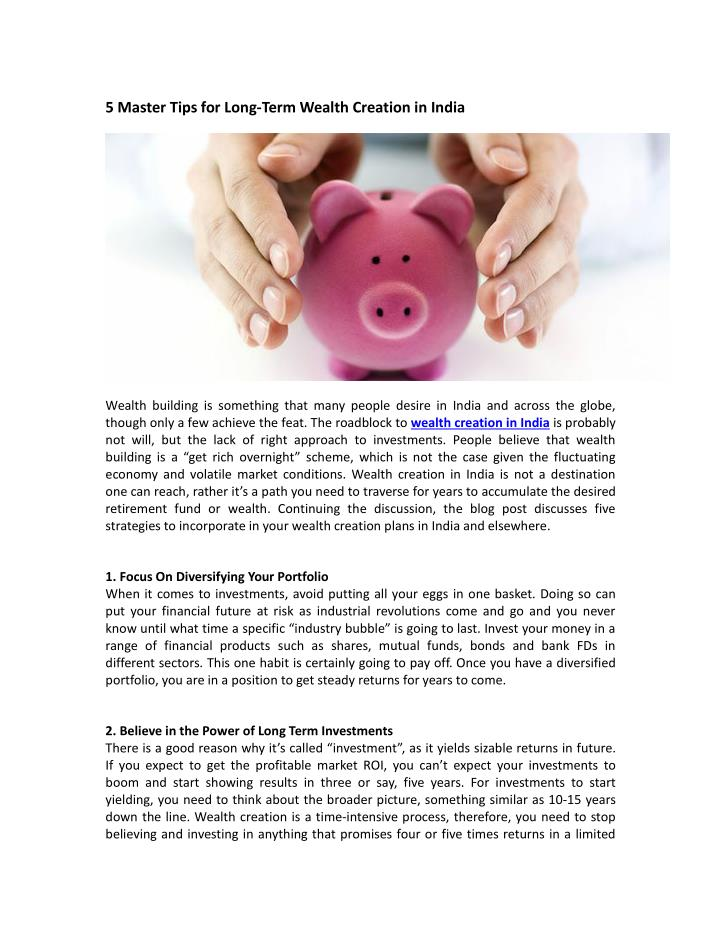 5 master tips for long term wealth creation n.