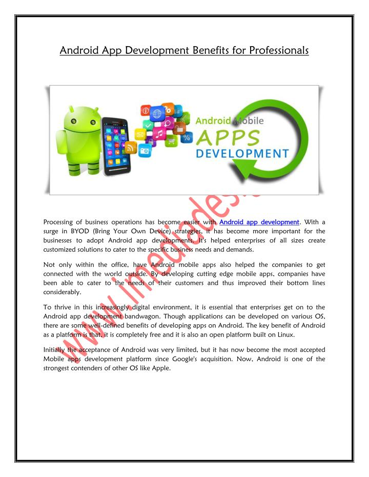 android app development benefits for professionals n.