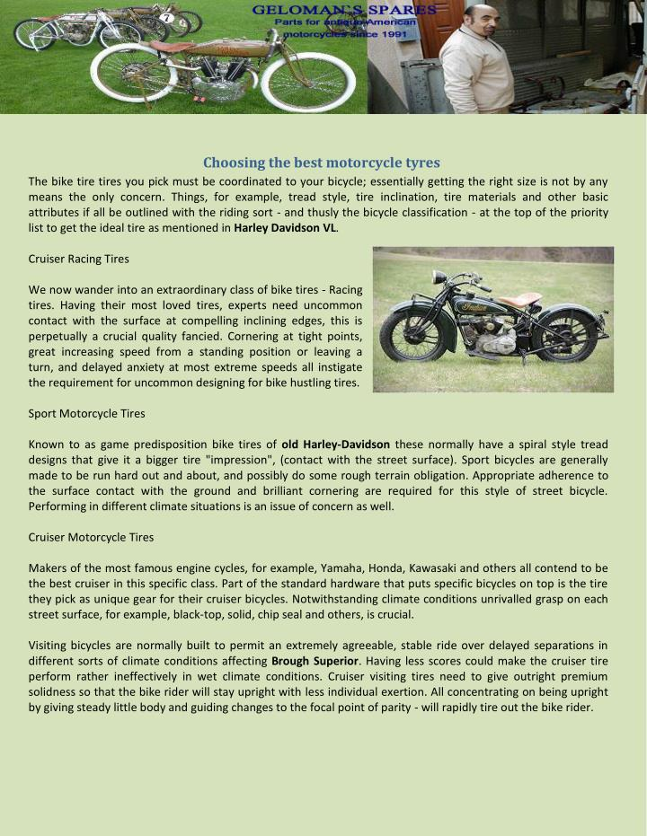 PPT - Choosing the best motorcycle tyres PowerPoint