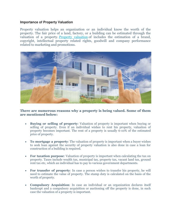 importance of property valuation property n.