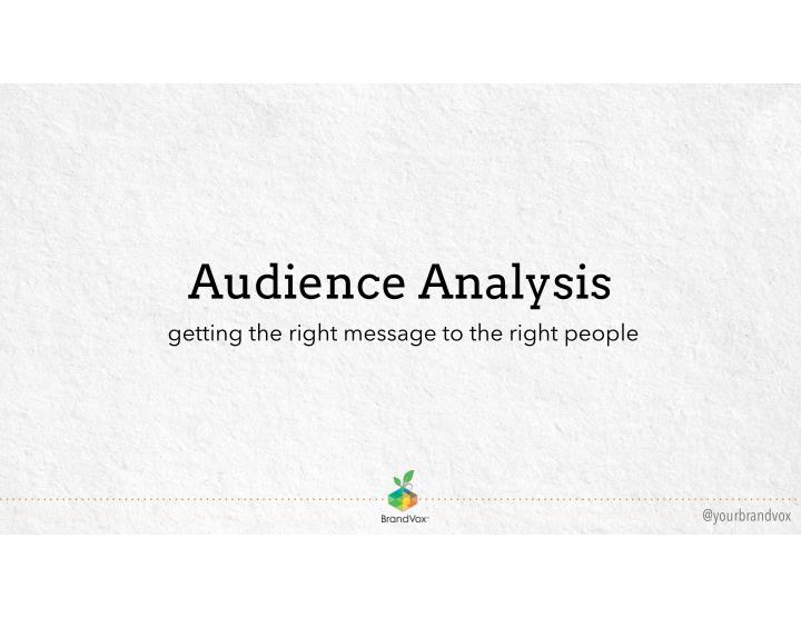 audience analysis getting the right message n.