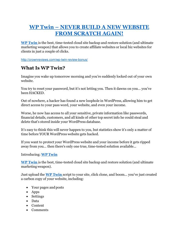 wp twin never build a new website from scratch n.