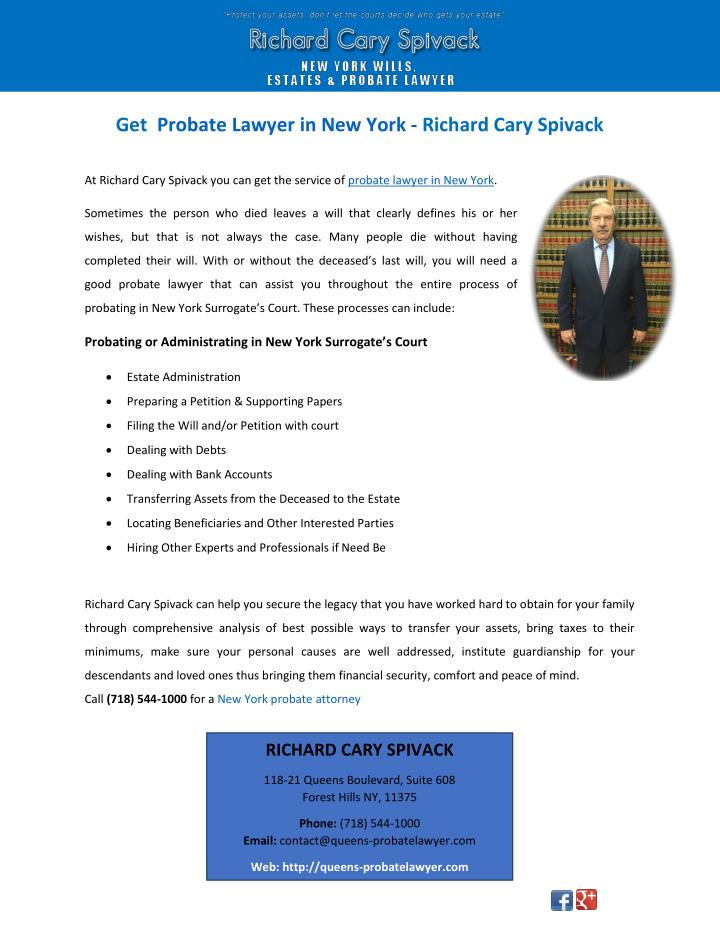 get probate lawyer in new york richard cary n.