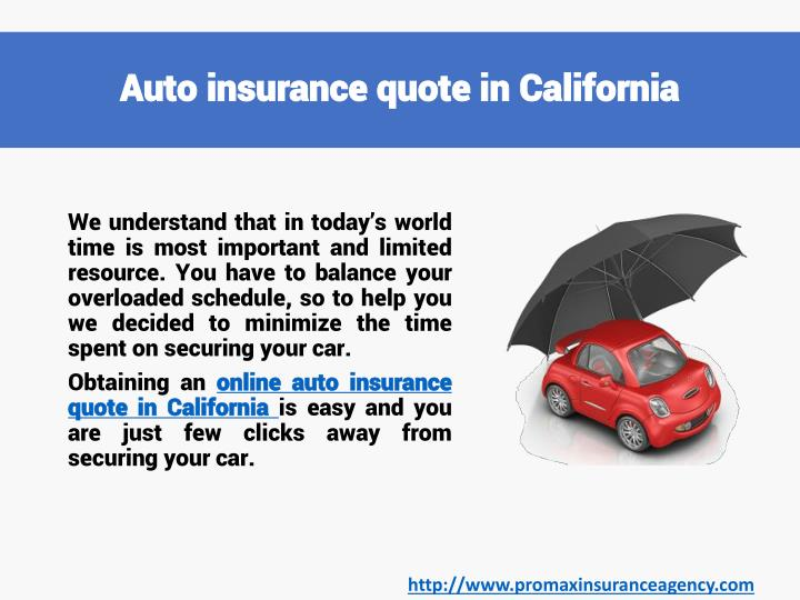 Auto Insurance Quotes In California PowerPoint