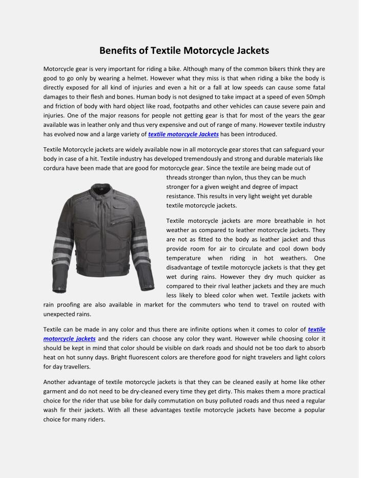 benefits of textile motorcycle jackets n.