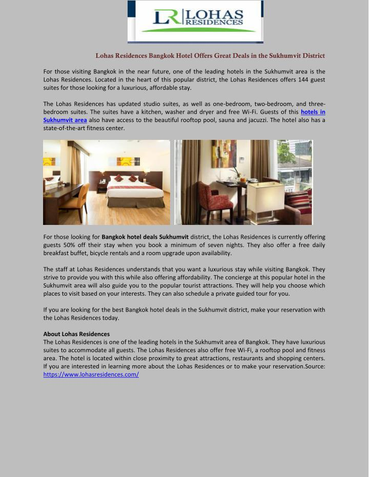 lohas residences bangkok hotel offers great deals n.