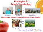 analogies to teach vocabulary