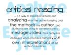 critical reading is a way of looking at a book
