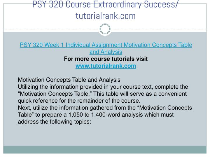 motivation concepts psy 320