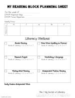 my reading block planning sheet for the week