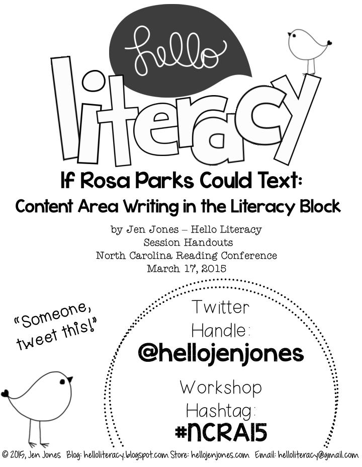 if rosa parks could text content area writing n.