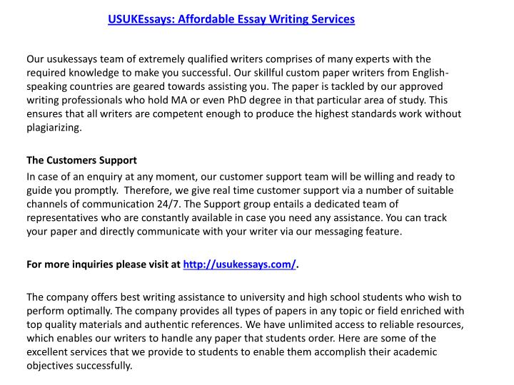 usa essay writing services You have stumbled upon one of the best custom writing services online if you are stressed by tons of assignments - our professional academic help is here to let you get customized papers at reasonable prices.