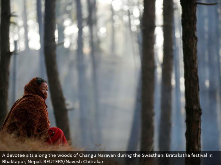A fan sits along the forested areas of Changu Narayan amid the Swasthani Bratakatha celebration in Bhaktapur, Nepal. REUTERS/Navesh Chitrakar