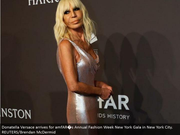 Donatella Versace touches base for amfAR�s Annual Fashion Week New York Gala in New York City. REUTERS/Brendan McDermid