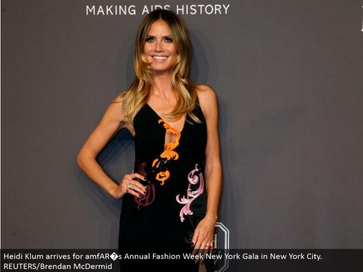 Heidi Klum touches base for amfAR�s Annual Fashion Week New York Gala in New York City. REUTERS/Brendan McDermid