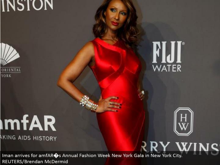 Iman touches base for amfAR�s Annual Fashion Week New York Gala in New York City. REUTERS/Brendan McDermid