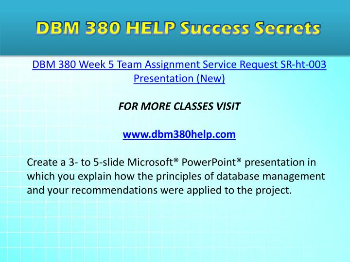 dbm 380 data base management complete Dbm 380 week 1 individual assignment database paper (new) the time to complete data modeling step with dbm 380 week.