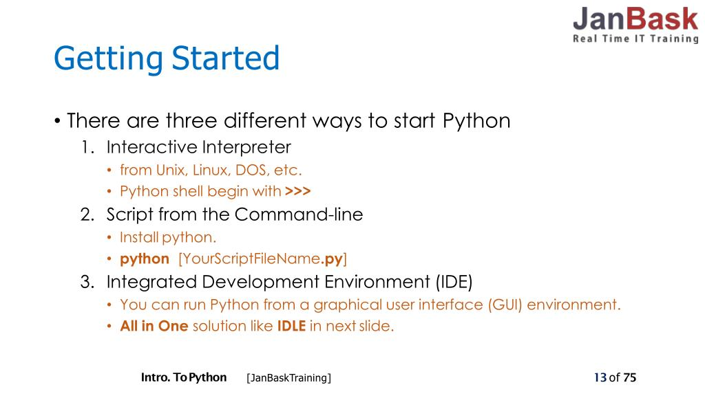PPT - Introduction about Python by JanBask Training PowerPoint