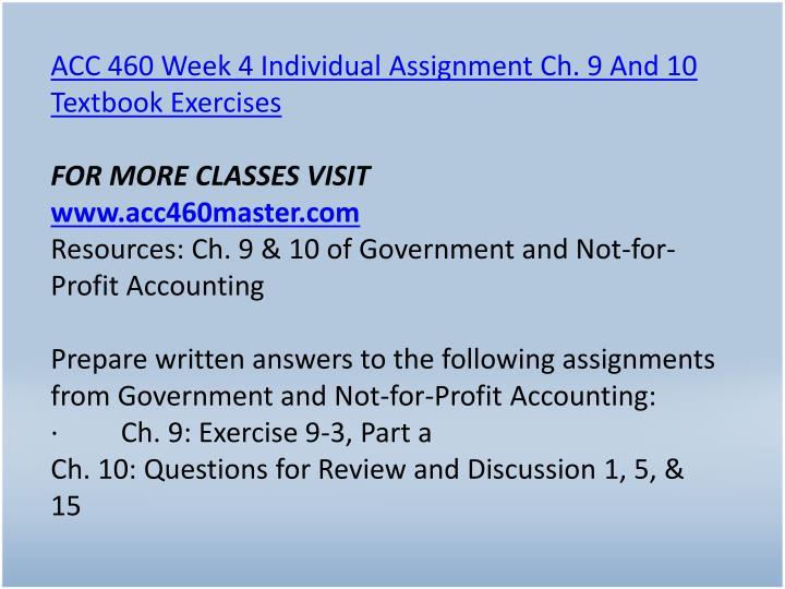 acc 460 week 4 individual ch