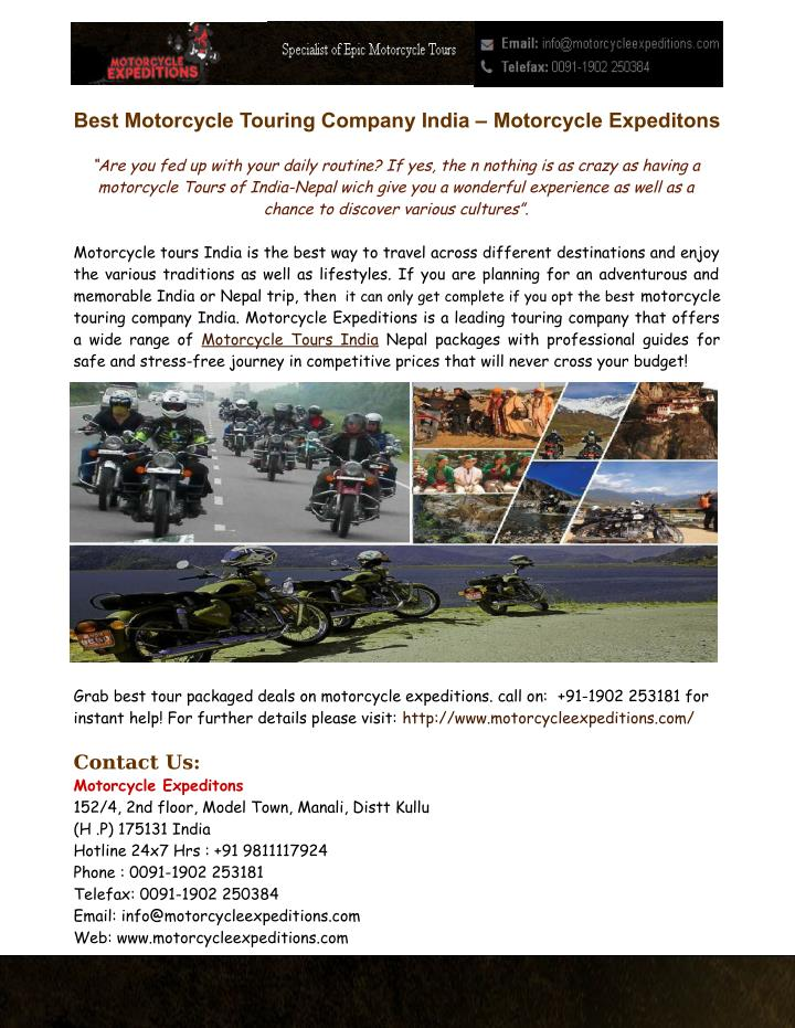 best motorcycle touring company india motorcycle n.